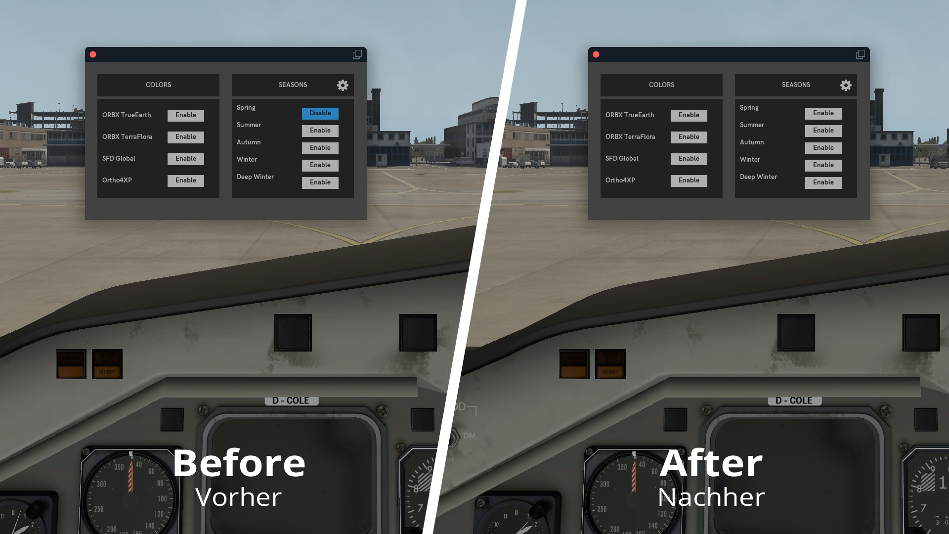 The before and after image when X-Plane crashes while loading a scenery