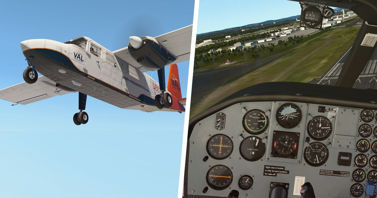 Exterior model and cockpit of the TorqueSim BN-2 Islander in the overview