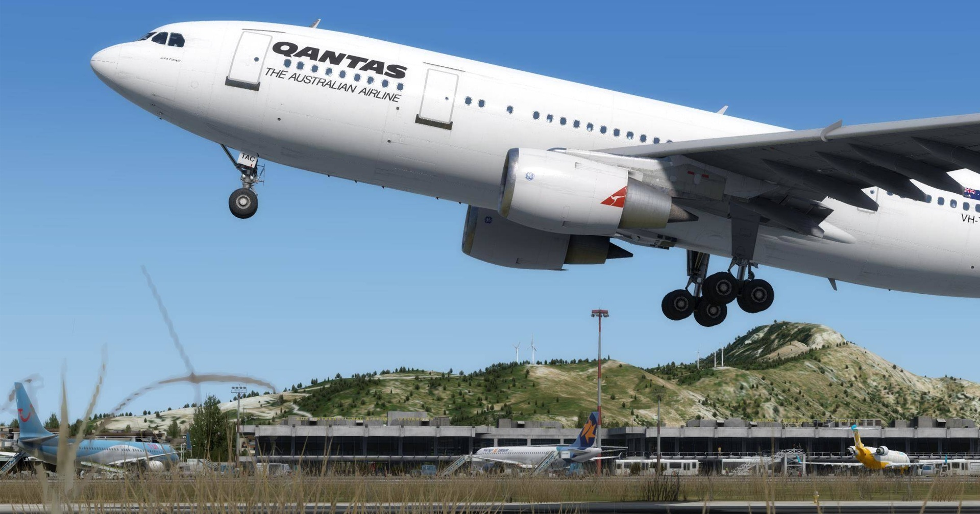 The Just Flight A300 with the Qantas Livery