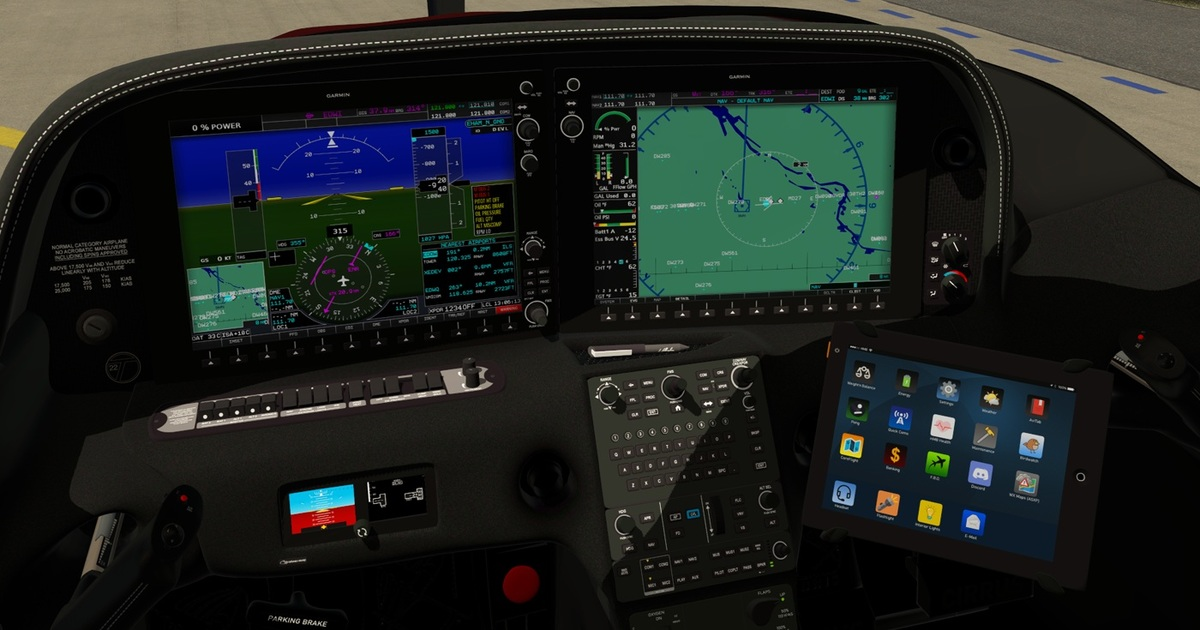 The cockpit of the HoldMyBeer Cirrus SR22 with the EFB Tablet