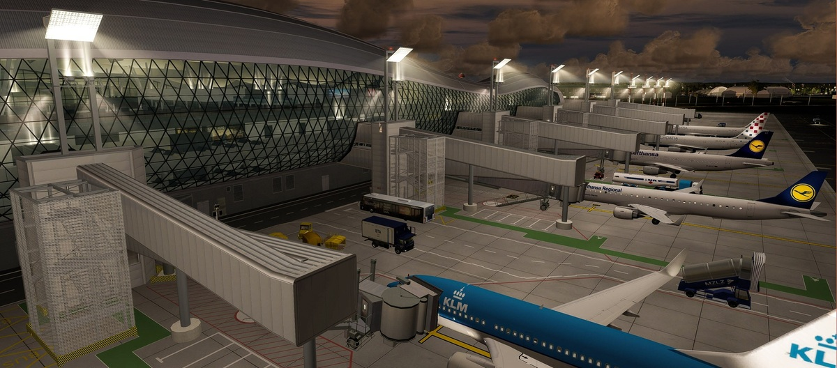 Aerosoft Zagreb Professional for Prepar3D v4: View of the really futuristic looking main terminal