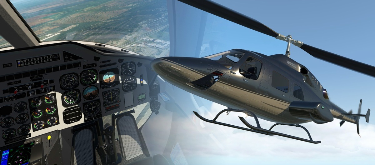 Previews of the exterior model and cockpits of the Cowan simulation Bell 222, which is upcoming for X-Plane 11